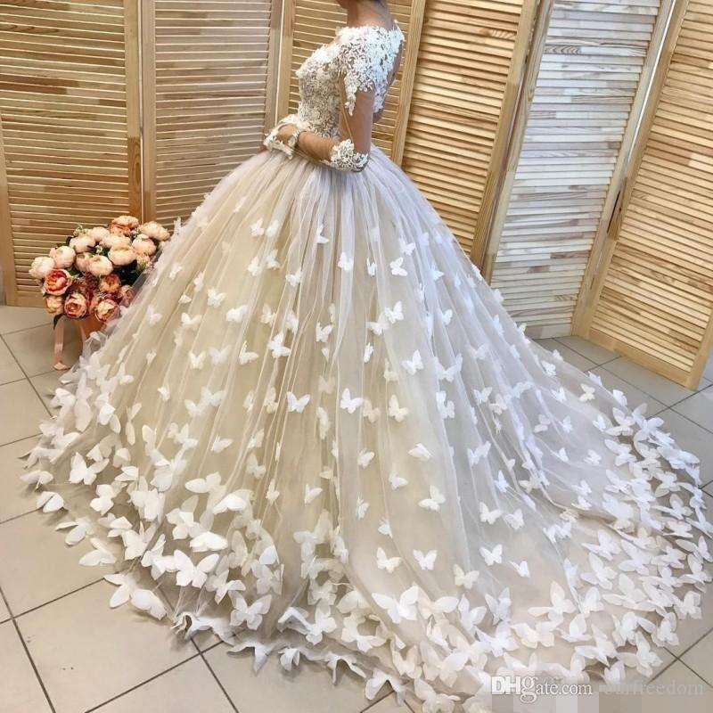 Gorgeous 2019 Ball Gown Wedding Dresses Long Sleeve Illusion With 3D Flora Butterfly Bridal Gown High Quality For Church Garden Custom Made