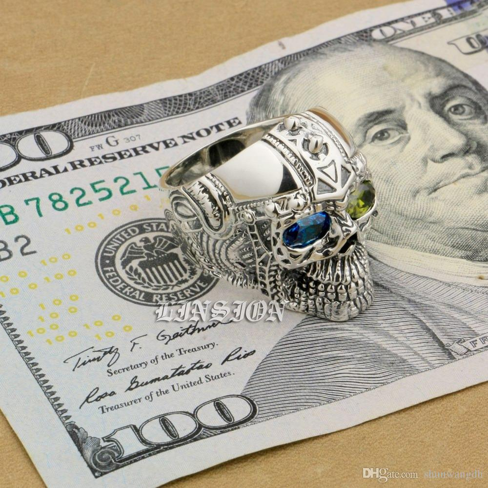 LINSION Blue + Green CZ Eyes 925 Sterling Silver Gothic Tattoo Skull Mens Boys Biker Rock Punk Ring 9G405 US Size 7 to 15