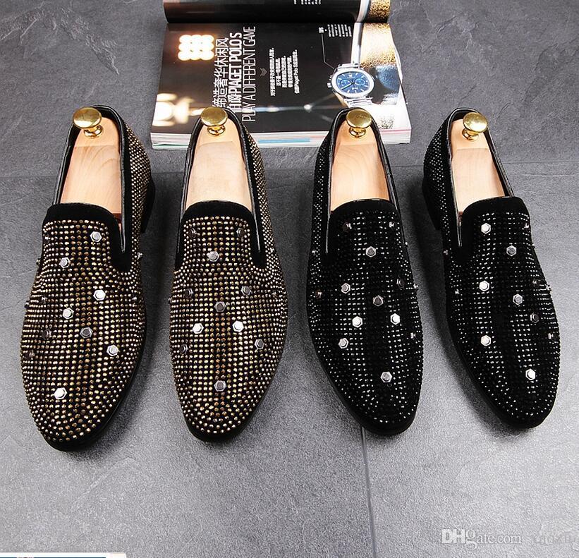 Новые мужчины обувь с заклепками стиль и изысканный Кристалл мужчины свадьба и партия мокасины мужчины платье обувь HX40