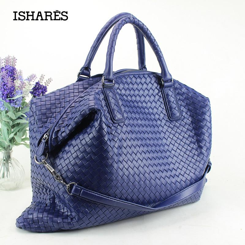 89a114338e Wholesale- ISHARES Handbags Sheepskin Woven Handbags Brand Fashion ...