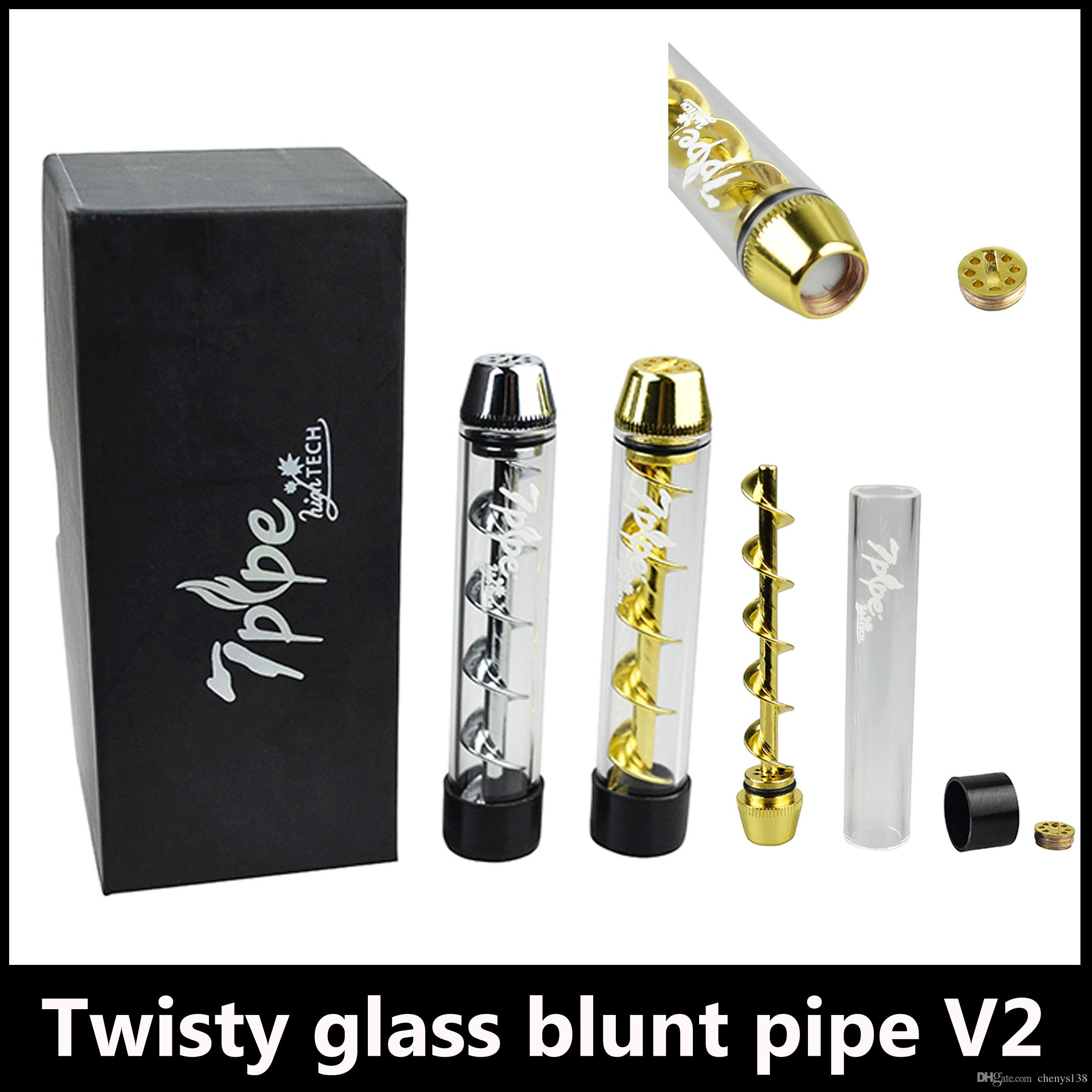 Cheap herbal vaporizers - Newest Twisty Glass Blunt Pipe V2 Kit Herbal Vapor Dry Herb Vaporizer The Mouth Piece Can Replacemen Pen Twist Me Vapor 5 Colors
