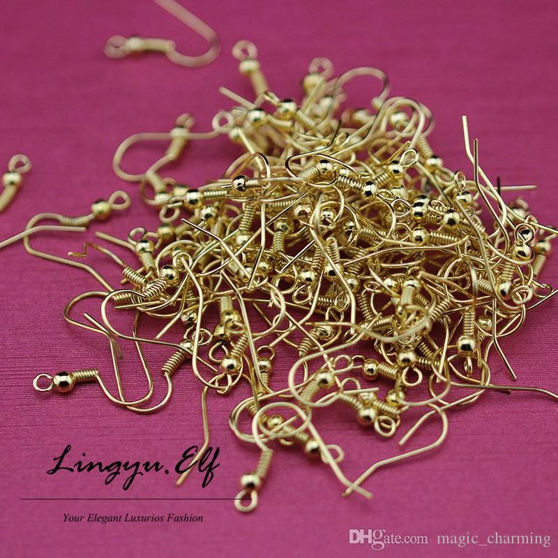 1000 adet / grup 18 K Altın Küpe Earwires Klipler-Bulguları 2mm düz geri sonrası küpe bulguları Küpe Kanca / DIY Takı Bulguları