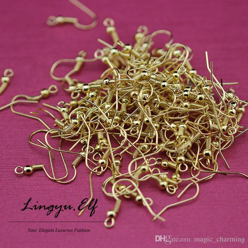 / 18K or boucles d'oreilles Earwires Clips - résultats 2mm dos plat post boucle d'oreille résultats boucles d'oreilles crochets / bricolage bijoux conclusions
