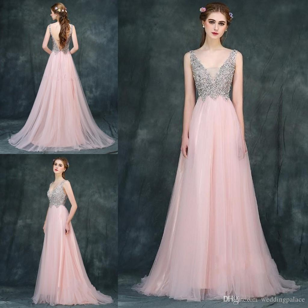 dd6583c688 Pretty V Neck Pink Beaded Long Evening Dresses Tulle Satin Backless Beaded  Formal Evening Gowns Prom Dresses Special Occasion Dresses Evening Dresses  ...