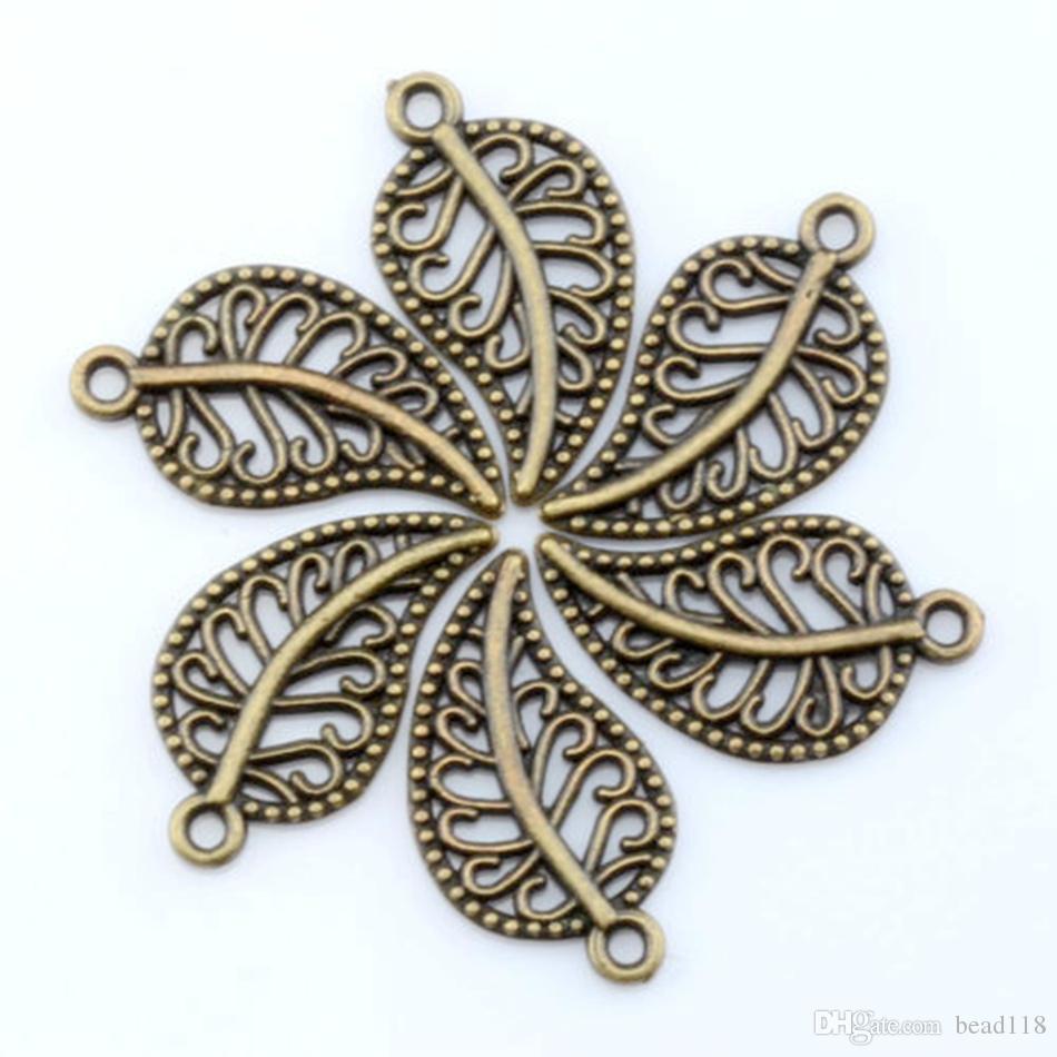 Bronze Antique Lindo Hollow Mini Folha Charme Pingente Para Jóias Fazendo Pulseira Conchas de Colar 10.5x19mm
