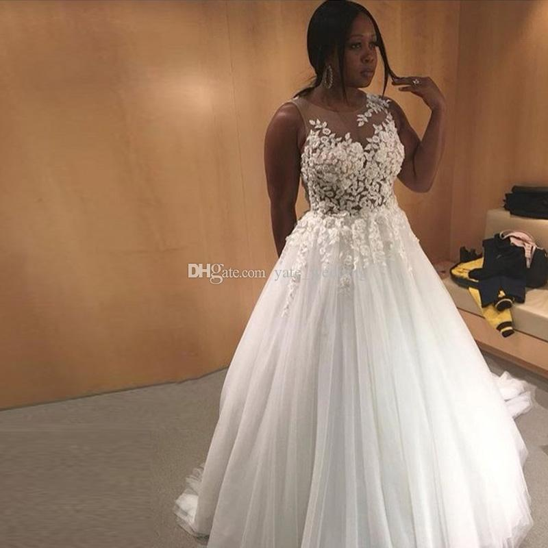 Discount Plus Size Wedding Dresses Sheer Neck Sleeveless Illusion ...