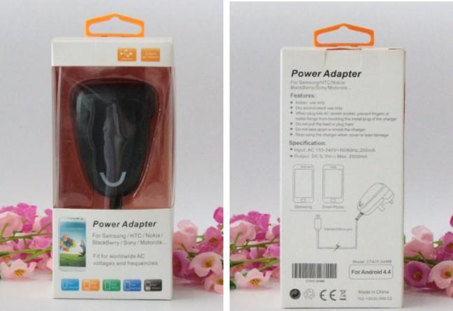 Adaptador de CC de CA de carga Cargador de pared con cable Enchufe de 5V 2A del Reino Unido, carga rápida para el adaptador de viaje de energía de IPAD embalaje al por menor caja para colgar