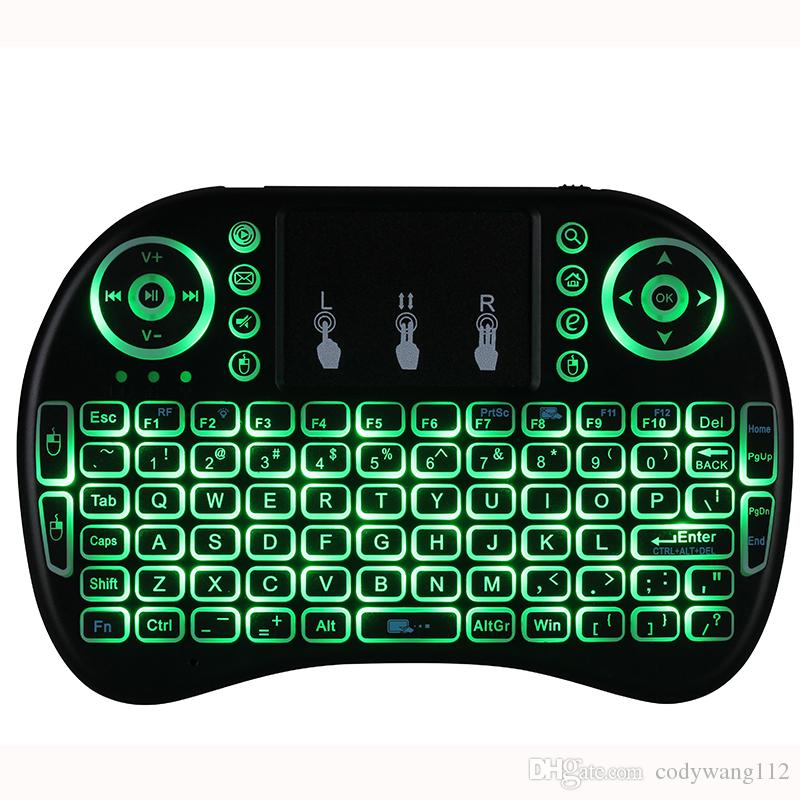 Rii I8 2,4 GHz Wireless Mouse Gaming Keyboards Weiß-Hintergrundbeleuchtung Multi-Color Backlit-Maus-Fernbedienung für TV Android Boxes MXQ PRO X96