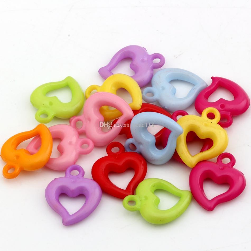 250 stks kleurrijke acryl plastic hart charme hanger voor sieraden maken, bevindingen armband ketting DIY accessoires 15x19mm