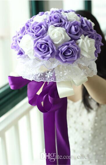 22 Çiçekler Gelin Düğün Buket Nane Mavi mor şampanya Düğün Dekorasyon Yapay Nedime Çiçek Dantel Gelin Holding Flowe