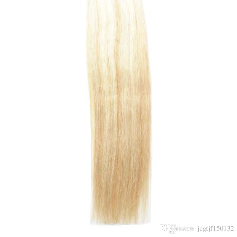 Band in Menschenhaarverlängerungen 40 Stück P27 / 613 Klavier Farbe Blonde brasilianische Haar Haut Schuss Band Haarverlängerungen 100g doppelt gezeichnet Band in