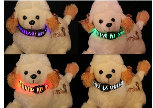 pattern Nylon Pet LED Dog Collar Night Safety LED Flashing Glow LED Pet Supplies Dog Cat Wire mesh Collars