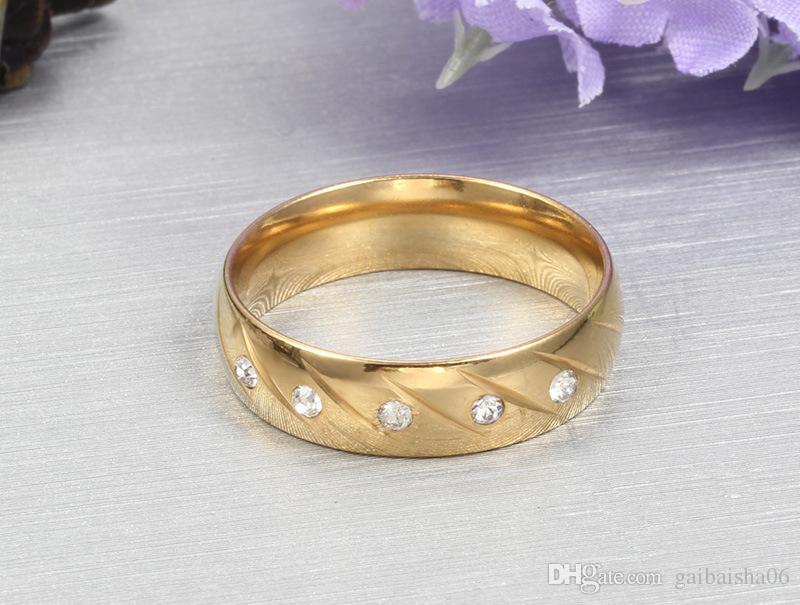 MEAGUET Mode Frauen Hochzeit Ringe vergoldet Ringe für Frauen und Männer Schmuck Großhandel Edelstahl Ring mit CZ Stein CR-043
