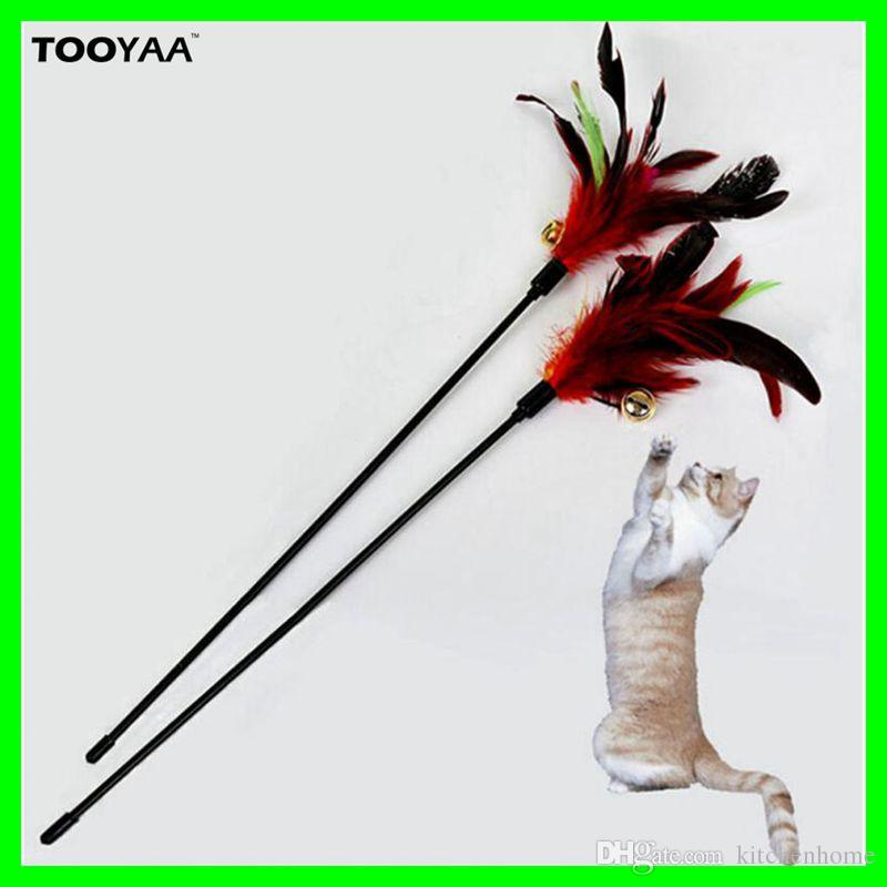 Colorful Feather Pet Cat Toys With Bells Cat Teaser Wand Toys Pet Dog Cat Feather Playing Toys with Small Bells Pet Products Supplier