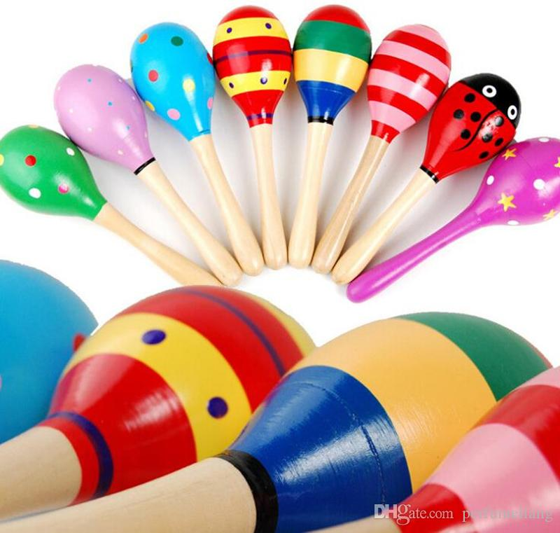 Baby Rattles Large Sand Hammer Cartoon Wood Sand Hammer Wooden Rattles Educational children toy JF-717