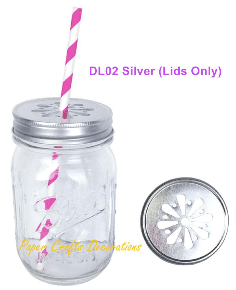 2018 Wholesale Lids Only Rustic Silver Pewter Daisy Cut Mason Jar ...
