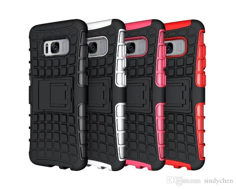 Hybrid Cases Kickstand Shockproof case for Samsung S8 S8 plus S7 edge 2 in 1 Back Hard Cell Phone Cover Case