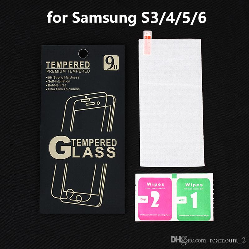 Wholesale Tempered Glass Screen Protector For Samsung Galaxy S3 S4 S5 S6 Premium Ultra HD Film with retail box + wipes