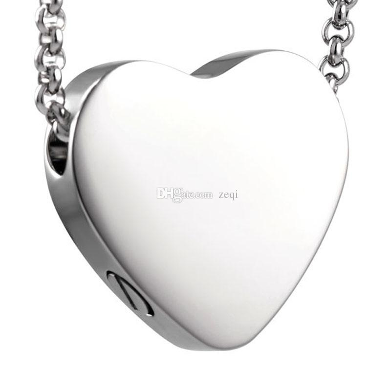 Ijd8384 Charm Heart Funeral Cremation Urn Necklace Cheap Ash Pendant Necklace Casket Hold Ashes Memorial Jewelry Free Engrave