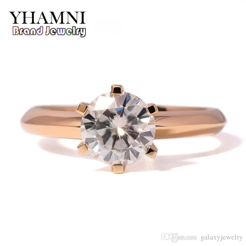 b98eb7ee38 YHAMNI 18KRGP Stamp Rings Gold Color Fine Jewelry Top Quality Diamond  Fashion Engagement Rings Classical Wedding Rings RJ169