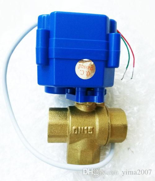 Factory price valve DC 12V,BSP thread Motorized Ball Valve 3 way G1/2 DN15 reduce port, electric ball valve, motorized valve, T Port