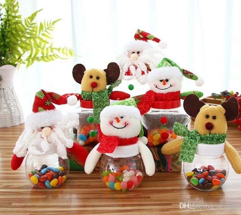 Weihnachten Candy Box Weihnachten Elch Santa Schneemann Bär Puppen Topper klar süße Boxen Container Kids New Year Geschenkpapier Party Dekor