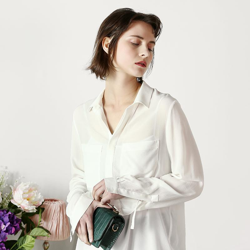 2019 Women S Plus Size Silk Blouse Shirt With Double Pockets Lady S