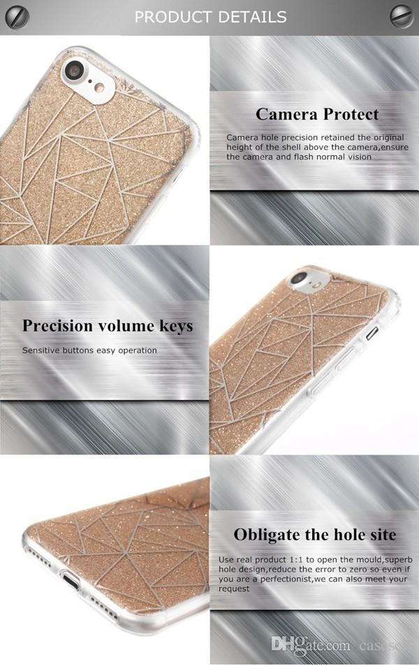아이폰 6 7에 대 한 새로운 패션 반짝이 파우더 케이스 반짝이는 고급 실리콘 소프트 케이스 커버 iphone7 플러스 7Plus