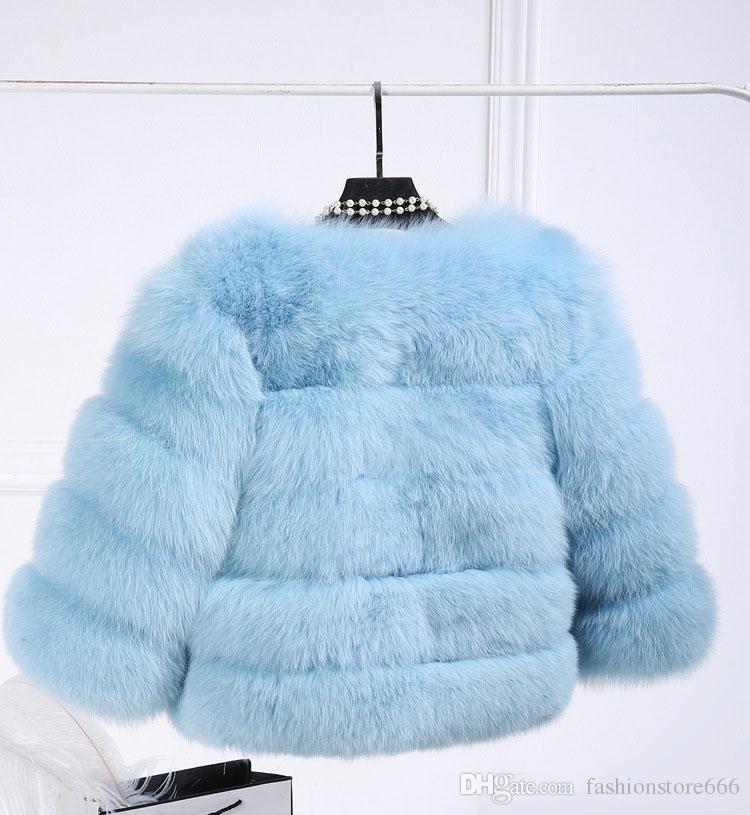 2016 Inverno Casaco De Pele De Raposa Jaqueta Petite Peacoat Outwear De Pele Das Senhoras Em Torno Do Pescoço Manga Comprida Casacos Parka Trench Coats Curto