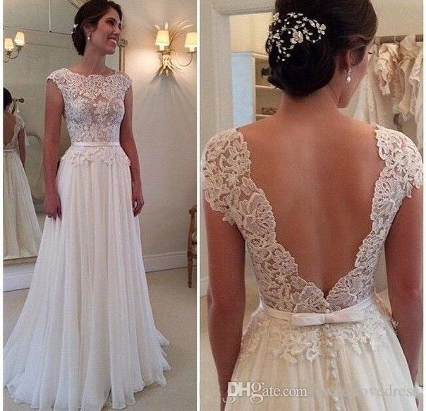 In Stock Beach Wedding Dress Scoop Lace Applique Chiffon Sexy