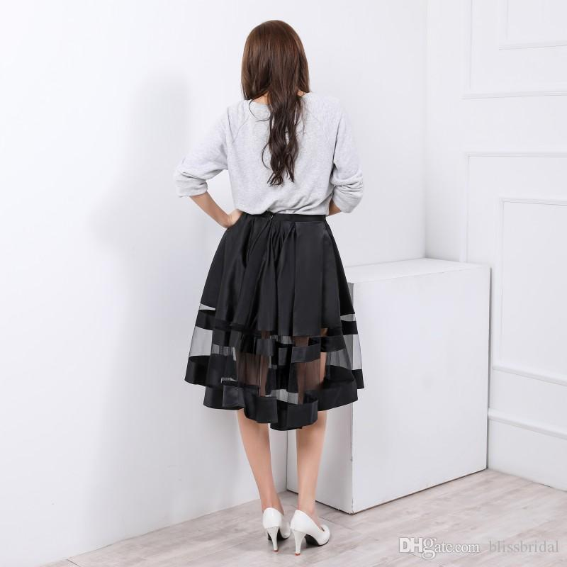 Black Satin With Sheer Hem Skirts Short A Line Sexy Under See Through Skirt Waist With Invisible Zipper