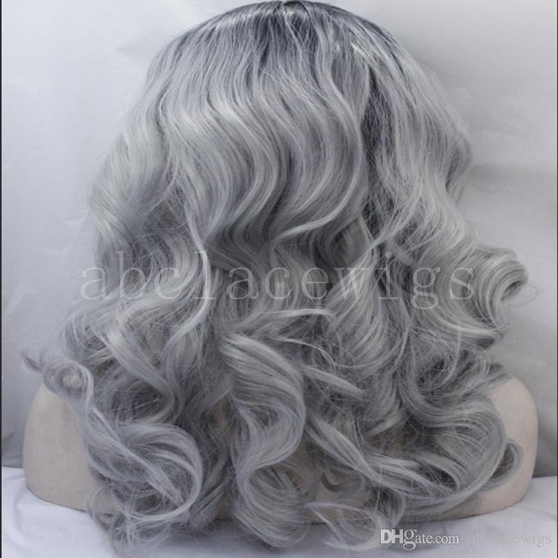 Short High Quality Silver Grey Body wave wig with dark roots Natural Black/Gray 2t Ombre Synthetic Lace Front Wig Heat Resistant fiber