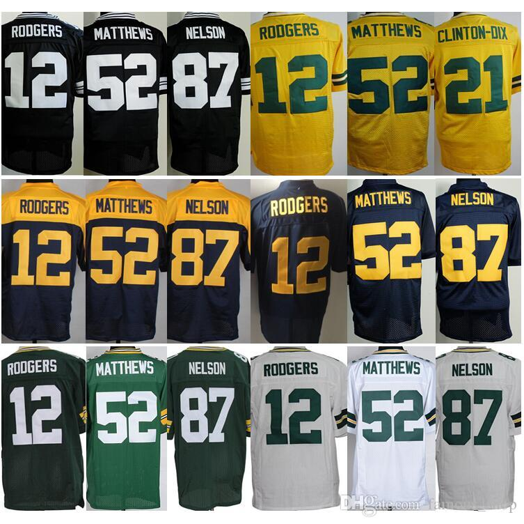 ... Cheap 87 Jordy Nelson Jersey Stitched Shirt 12 Aaron Rodgers 52 Clay  Matthews Jersey Discount Top ... a0f9e64ca