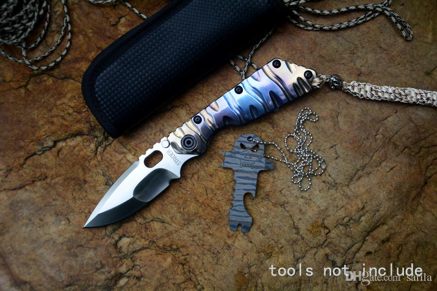 Strider knife SMF folding knife satin D2 blade ball bearing washer TC4 flame colourful texture handle outdoor survival tactical knife