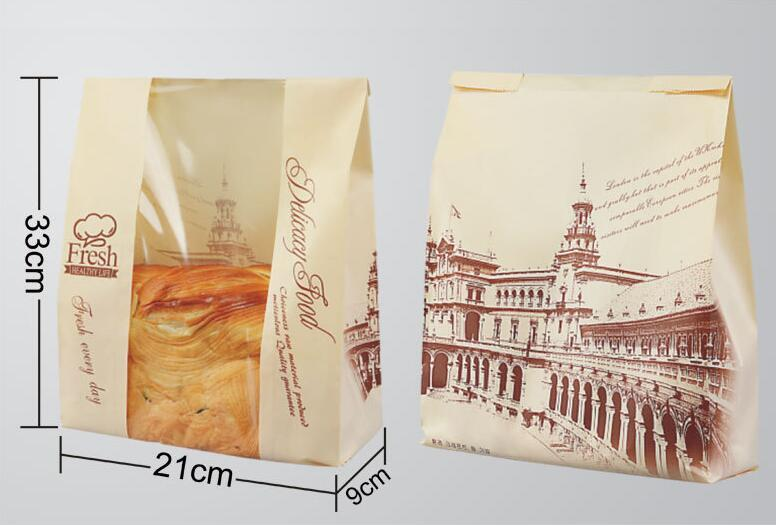 New 21+9*33cm Clear Window Kraft Toast Bag Food Baking Paper Wrap for Bread Paper Snack Bread Bag Party Supplies