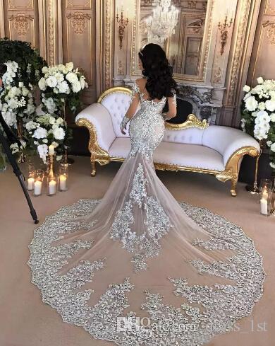 Luxury 2020 Mermaid Wedding Dresses Bridal Gowns Sexy Sheer Long Sleeve High Neck Bling Beaded Lace Appliqued Arabic Vestidos De Novia Dubai