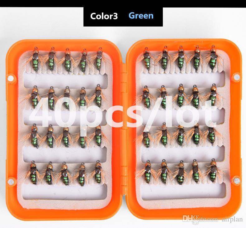 40шт нахлыстом мух Bionic насекомых рыболовную приманку Искусственные приманки с рыбой Easy Укус Песка Рыбалка Accessoires Крючки