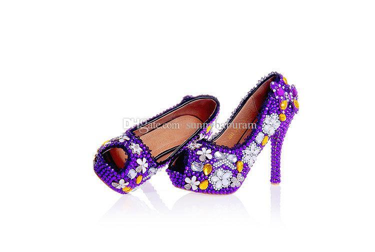 Luxe Violet Peep-Toe Femmes Talons Hauts Cristaux Cendrillon Chaussures De Mariée Demoiselle D'honneur Chaussures Bal Soirée Club Soirée Super 12cm Talon Haut