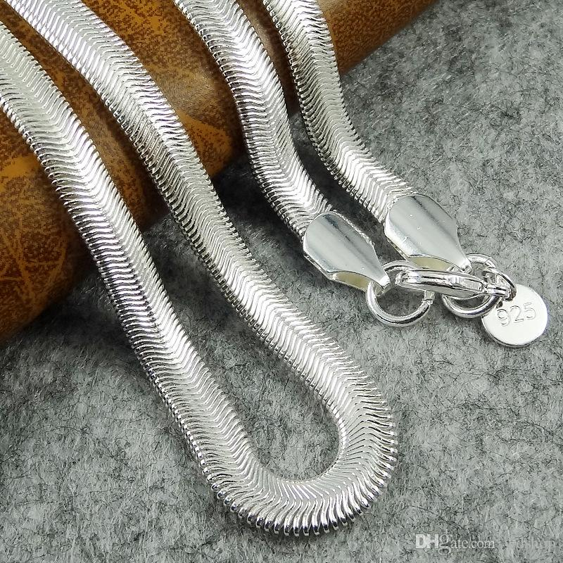 "925 Silver Plated Necklace 6MM Width Flat Soft Snake Bone Chain Necklace For Men Women Fashion Trendy Jewelry 16"" 18"" 20"" 22"" 24"""