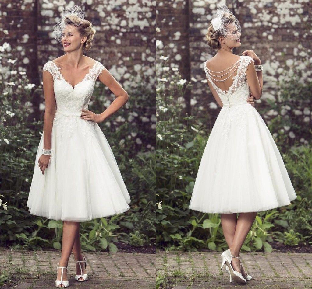 discount 2017 elegant tea length wedding dresses v neck cap sleeves appliques lace tulle ball. Black Bedroom Furniture Sets. Home Design Ideas