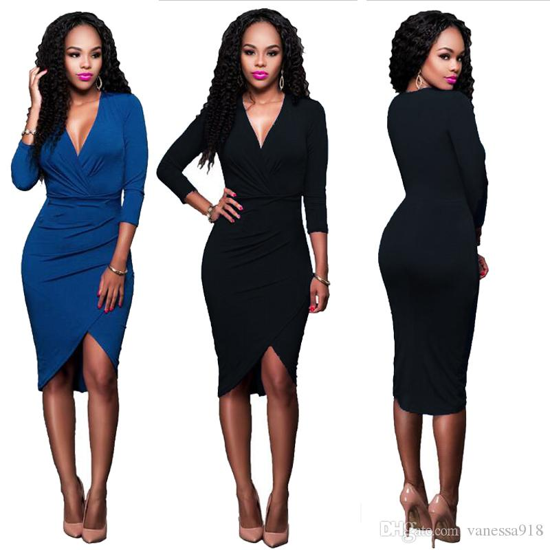 Ladies Dresses Black Slim Design Solid Blue Fish Dress For Female Night Club Evening Party dress women high Stretchable LMT-051