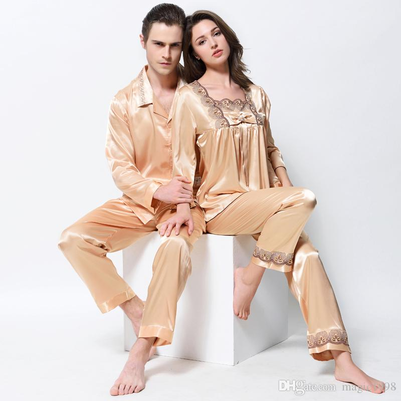 Lovers Pajamas Emulation Silk Pyjama Sets Fashion Gold Satin Silk ... 5003a9e48