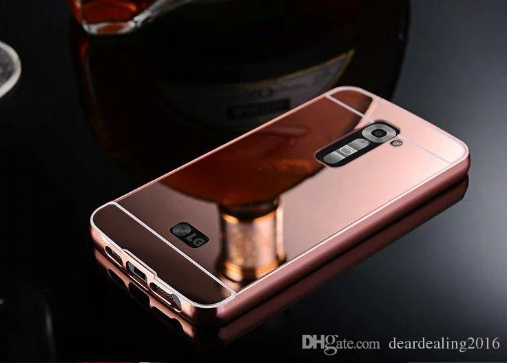 Luxury Gold Plating Armor Aluminum Frame + Mirror Acrylic Case For LG Optimus G2 D802 D801 Back Cover phone bags For LG G2