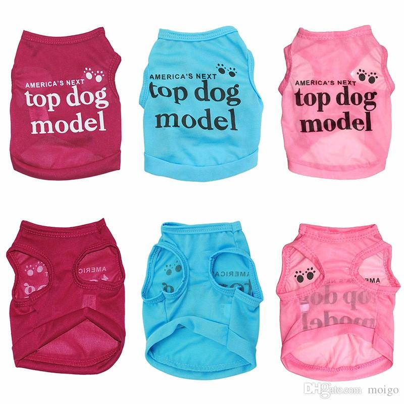 "New 1 pcs Summer Fashion Lovely ""America's Next Top Dog Model ""Dog Shirt Pet Vest Clothes for Pets Dog Clothes"
