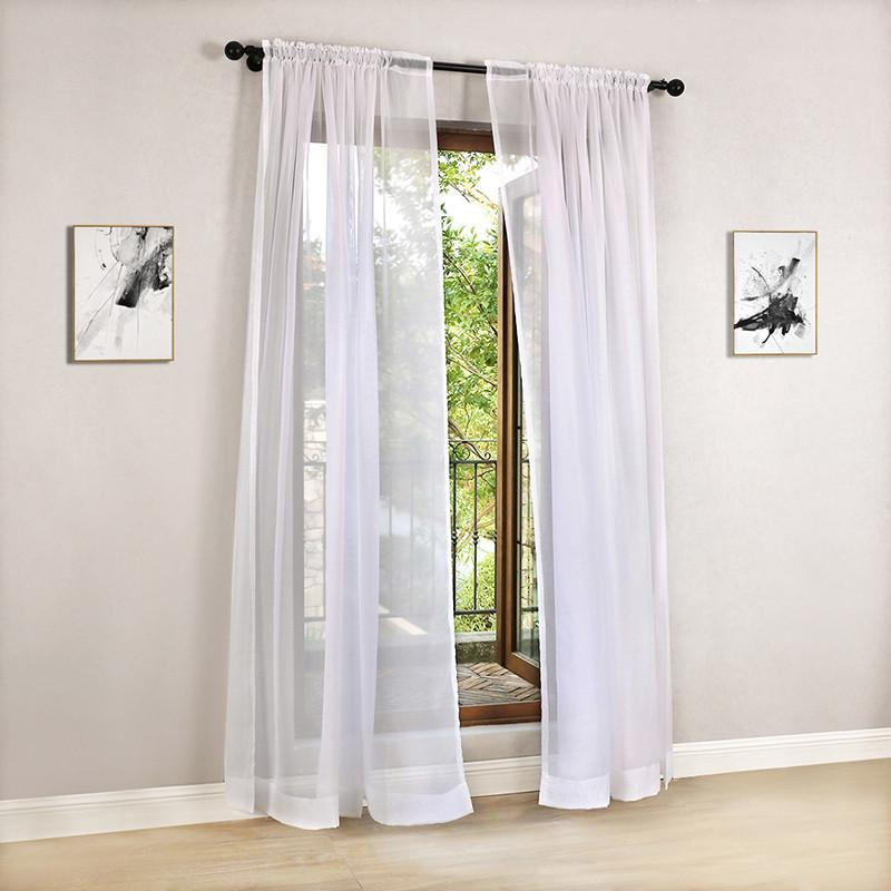 Solid Color Tulle Modern Curtains For Living Room Transparent Window Sheer The Bedroom Drapery Rod Draperies And