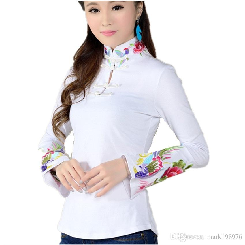 884d7c3b26616 2019 Chinese Style Shirt Female 2017 Spring Black White Ethnic Blouse Stand  Collar Embroidered Women Shirts Long Sleeve Tops ST009 From Mark198976