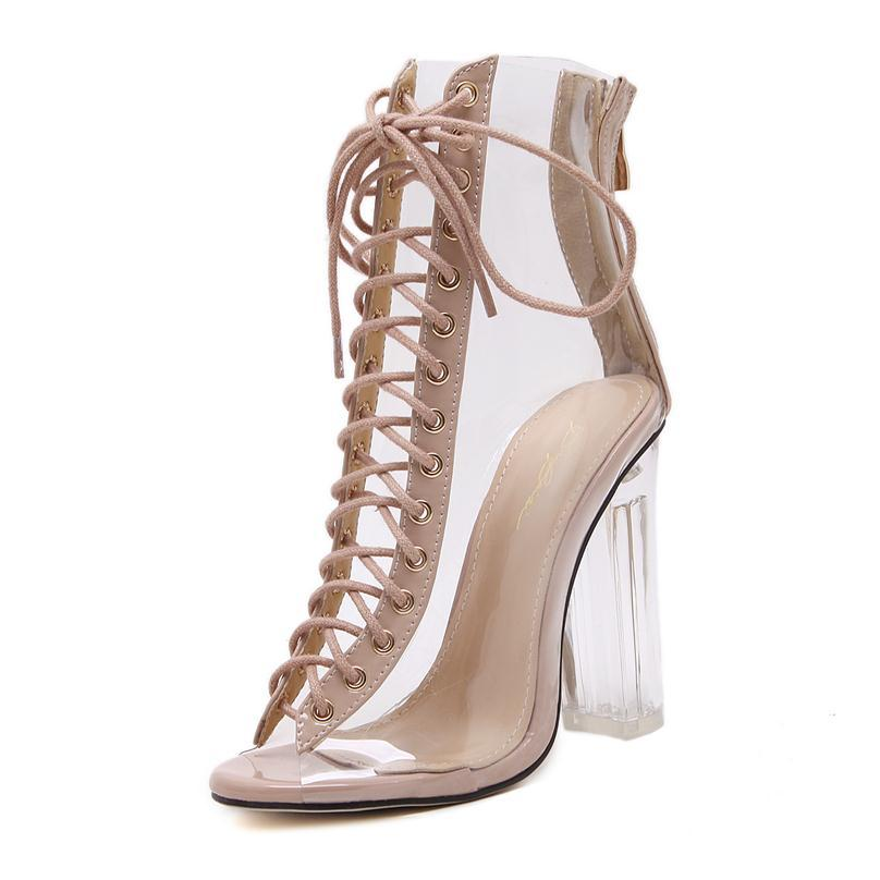 Fashion Womens Sandals Sexy PVC Transparent Peep Toe Lace Up Clear Block Chunky heels Ankle Bootie Size 35 To 40