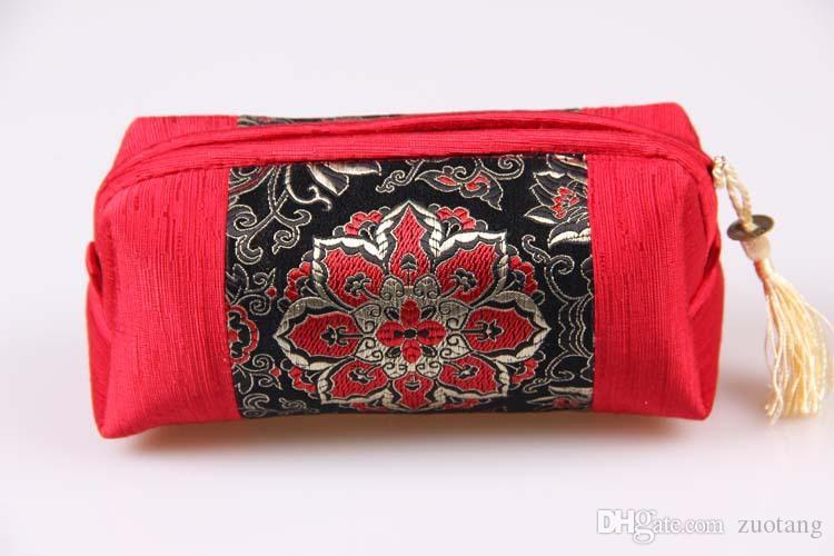 Tassel Patchwork Zipper Travel Smycken Kosmetisk Bag Cloth Craft Presentförpackning Pärla Halsband Bangle Armband Makeup Förvaringspåse 10st /