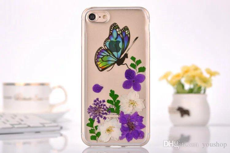 Pressed Floral Real Flower Case Flexible Soft Rubber Gel TPU Sublimation Phone Case Cover for iphone 7 7plus 5.5