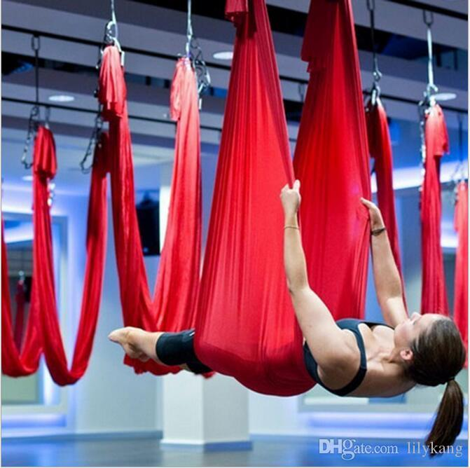 Low Price Responsible Anti-gravity Yoga Hammock Fabric Yoga Flying Swing Aerial Traction Device Yoga Hammock Set Equipment white
